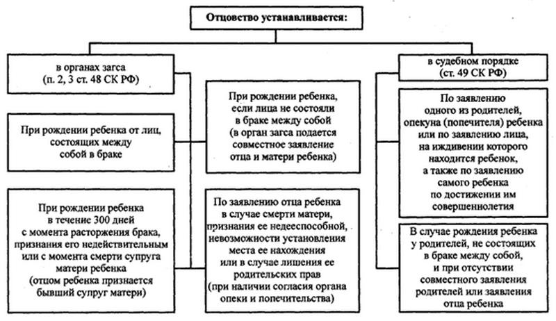 Судебный порядок установления материнства и или отцовства