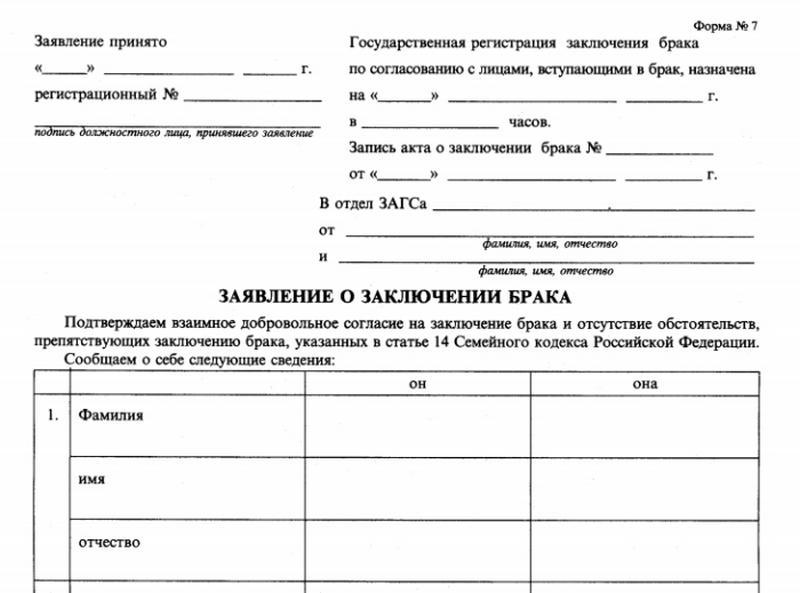 заявление на регистрацию брака образец заполнения