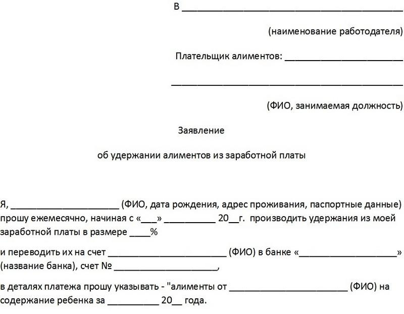 заявление о перечислении алиментов на банковскую карту образец